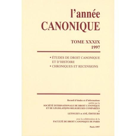 L'Année canonique XXXIX Études diverses