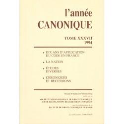 L'Année canonique XXXVII 10 ans d'application du Code en France