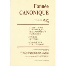 L'Année canonique XXXV Statuts civil et canonique des animateurs