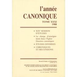 L'Année canonique XXXI La charge d'enseignement dans l'Église