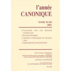 L'Année canonique XLIII (2001) Colloque sur les Églises national