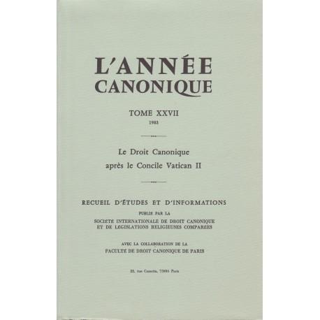 L'Année canonique XXVII Le Droit canonique après Vatican II
