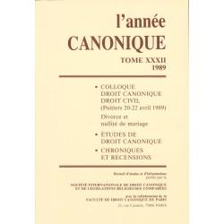 L'Année canonique XXXII Colloque Droit canonique-Droit civil