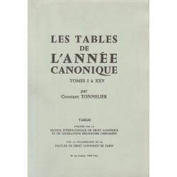 L'Année canonique Tables des tomes I à XXV