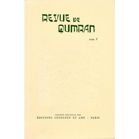 Revue de Qumran, 3 (Fasc. 9 à 12)