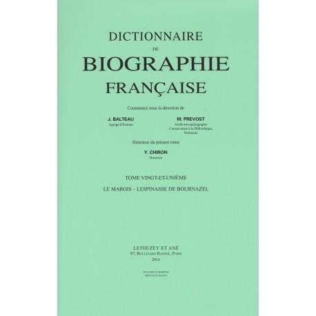 Dictionnaire de Biographie française, t. XXI