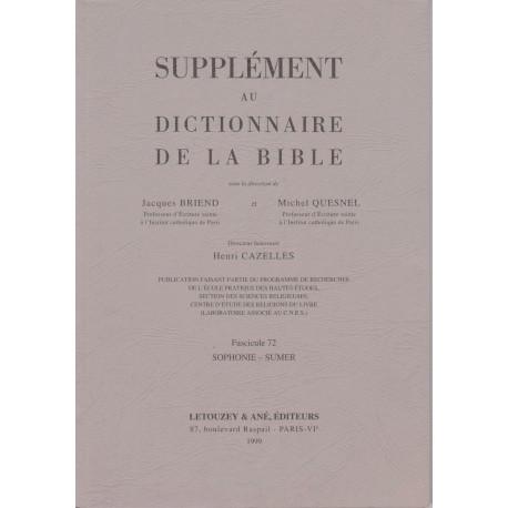 Supplément au Dictionnaire de la Bible, fasc. 72